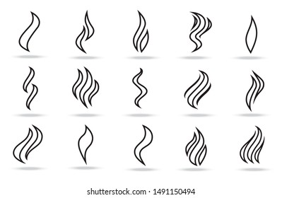 Smoke puff vector icon set illustration isolated on a white background