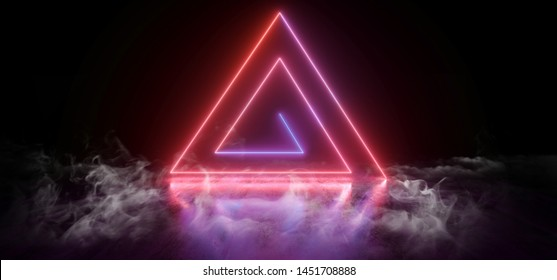 Smoke Sci Fi Futuristic Neon Lights Triangle Shaped Vibrant  Rainbow Glowing On Grunge Concrete Floor Ceiling Underground Garage Tunnel Corridor Dark Empty Virtual 3D Rendering Illustration