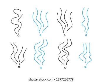 Smoke smell spiral signs. Set of smoke elements illustration