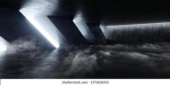 Smoke Steam Fog Sci Fi Modern Concrete Cement Dark Empty Asphalt Reflective Grunge Hall Room Corridor Tunnel Spaceship Glowing White Cinematic Daylight Rays Glow 3d Rendering Illustration
