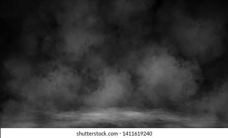 Smoke texture overlays on islotaed background. Misty fog background effect .