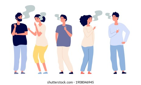 Smokers. People smoke cigarettes. Bad habits and drug addiction. Isolated adult characters