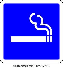 Smoking allowed blue sign