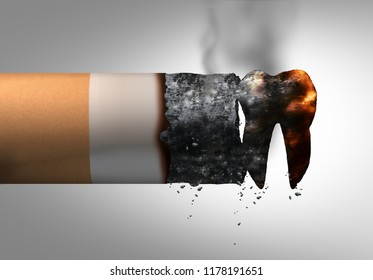 Smoking and dental health problem as a cigarette shaped as a tooth representing oral disease or cancer risk of a tobacco smoker as a 3D illustration.