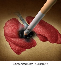 Smoking health effects concept as a cigarette burning a hole into human lungs as a medical metaphor for lung cancer and tumor growth from toxic smoke exposure from a smoker or secondhand fumes.