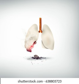 smoking kills concept design, lungs made of cigarette