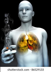 Smoking kills concept ,Male smoking with view of rotting lungs from smoking abuse. Part of a health abuse series.