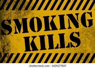 Smoking kills sign yellow with stripes, 3D rendering