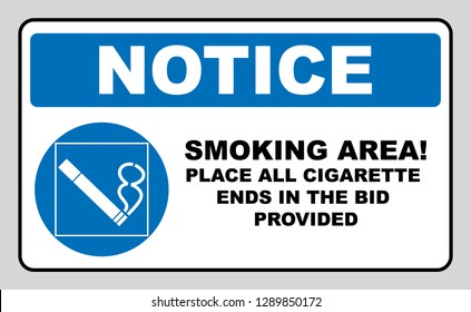 Smoking permited in this place icon. Smoking area. Round blue sign with white pictogram and black text.  illustration isolated on white. Mandatory symbol for public places and outdoors. Notice.