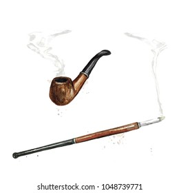 Smoking Pipe and a Cigarette Holder. Watercolor Illustration.