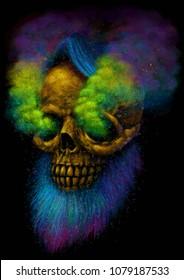 4c33ffd51 Smoking Skull. E-cigarettes vape hipster smoker. T-shirt print. Psychedelic