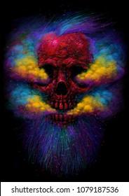 Smoking Skull. E-cigarettes vape hipster smoker. T-shirt print. Psychedelic color vapor.