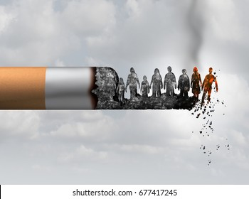 Smoking and society smoker death and smoke health danger concept as a cigarette burning with people falling as victims in burning ash as a metaphor of lung cancer risks with 3D illustration elements.