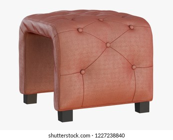 Smoll brown pouf capitone 3d rendering