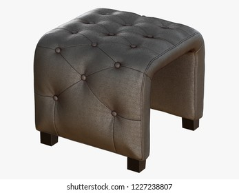 Smoll gray pouf capitone 3d rendering