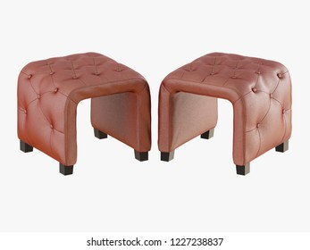 Smoll two brown pouf capitone 3d rendering