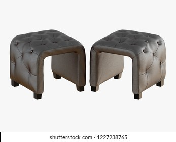 Smoll two gray pouf capitone 3d rendering