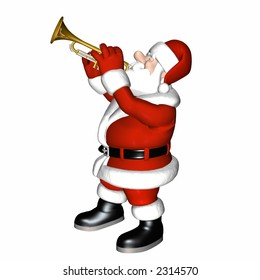Smooth Jazz Santa playing a trumpet.  Isolated on a white background.