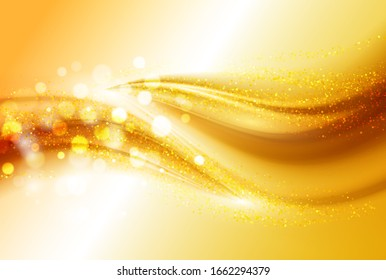 Smooth light gold waves lines and Lens Flares abstract background.