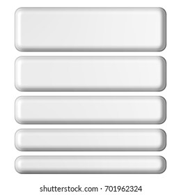 Smooth plastic style set of rounded corner rectangle banner shape design elements in a 3D illustration with a shiny light gray metallic effect isolated on a white background with clipping paths.