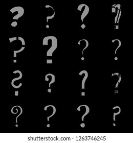 Smooth silver metal question mark sign symbol set in multiple various assorted fonts in a 3D illustration with a metallic gray finish isolated on a black background