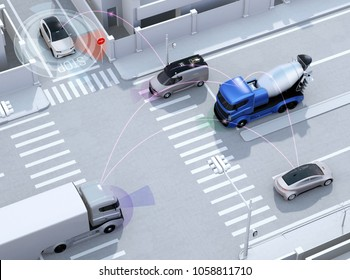 Smooth traffic in crossroad. Concept for advantage autonomous technology. 3D rendering image.