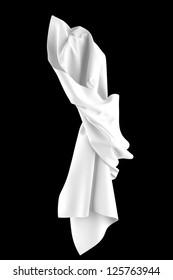 Smooth white elegant fabric isolated on black background