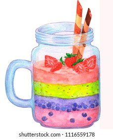 smoothie whit strawberry, bluberries and cookies