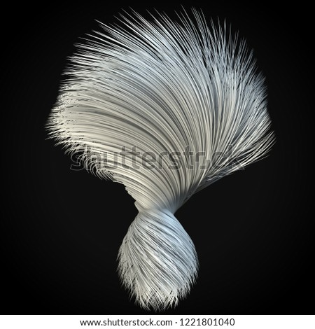 smoothly moving white hair lines 3 d stock illustration 1221801040