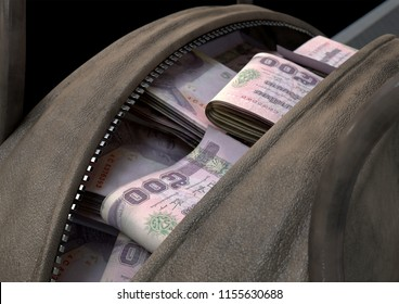 A smuggling concept depicting an open brown leather duffel bag revealing bundles of illicit rolled thailand bhat bank notes - 3D render