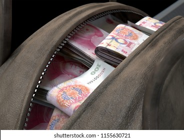 A smuggling concept depicting an open brown leather duffel bag revealing bundles of illicit rolled chinese yuan notes - 3D render
