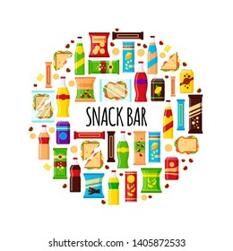 Snack product in circle. Fast food snacks, drinks, nuts, chips, cracker, juice, sandwich for snack bar isolated on white background. Flat illustration