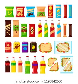 Snack product set for vending machine. Fast food for vendor machine bar isolated on white background, flat illustration
