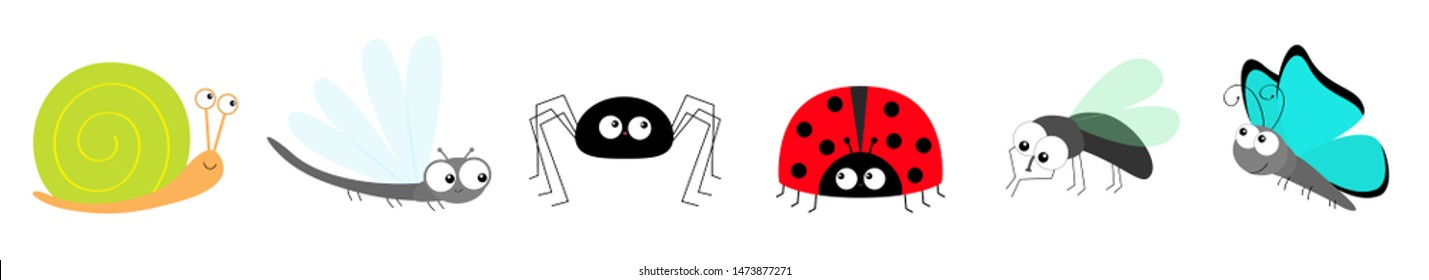 Snail Butterfly Lady bug ladybird Fly Housefly Spider Dragonfly insect icon set line. Baby kids collection. Cute cartoon kawaii funny character. Smiling face. Flat design. White background.