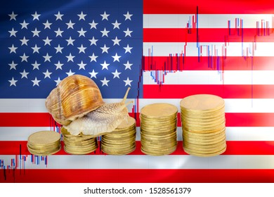 Snail crawling on a pile of coins in front of stock chart and a flag of United states of America or USA. Slow economic growth. Financial business concept