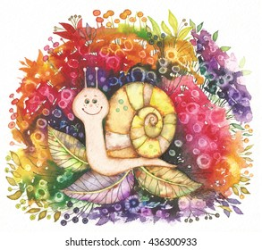 Snail watercolor and digital image. Hand drawn media artwork for textiles, fabrics, souvenirs, packaging and greeting cards.