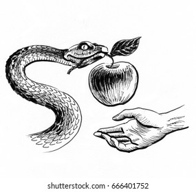 Snake with an apple and hand