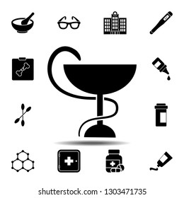 Snake with a bowl icon. Simple glyph illustration element of Medecine set icons for UI and UX, website or mobile application