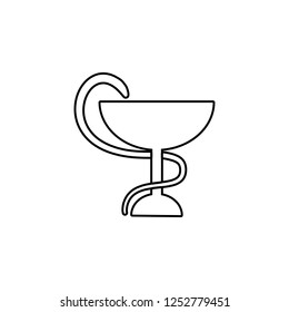 Snake with a bowl icon. Simple outline illustration of medicine set for UI and UX, website or mobile application