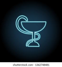 Snake with a bowl neon icon. Simple thin line, outline illustration of Medicine icons for UI and UX, website or mobile application
