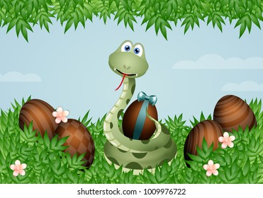 snake with Easter eggs