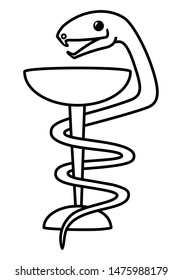 Snake entwining a bowl of poison. Illustration. Isolated on a white background