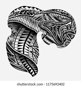 Snake Tattoo design in Maori Polynesian Style to tattoo on the chest and shoulder, Hand drawn Maori Polynesian Tattoo Design.