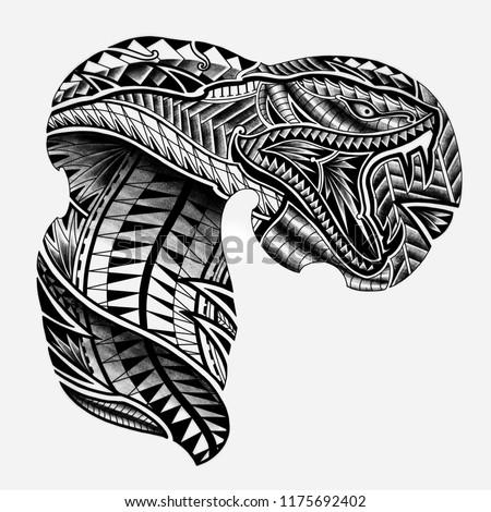 Snake Tattoo Design Maori Polynesian Style Stock Illustration