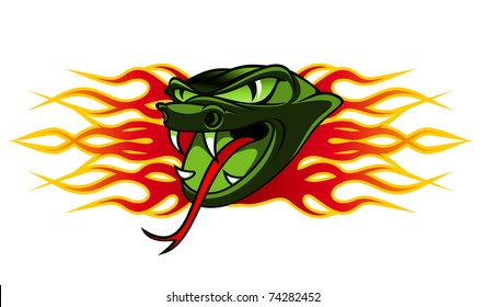 Snake tattoo in tribal flames for design. Vector version also available in gallery