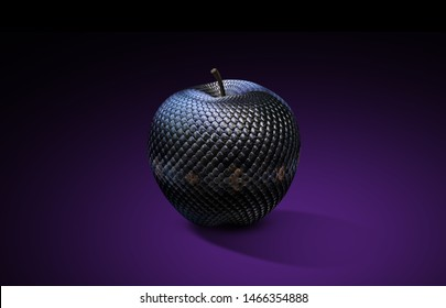 snake textured apple and dark background