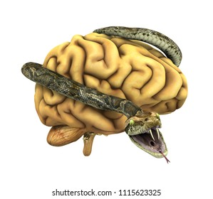 A snake wraps itself around a brain, symbolizing mind control, depression, evil, ect. 3D render.