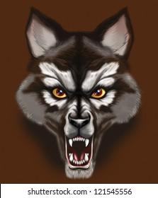Snarling wolf / werewolf face