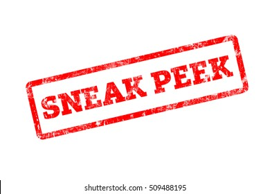 SNEAK PEEK word written on red rubber stamp with grunge edges.