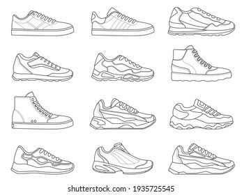 Sneakers icon. Outline sport shoe types for running and fitness. Minimalist line sneaker symbols. Fashion design of gym footwear  set
